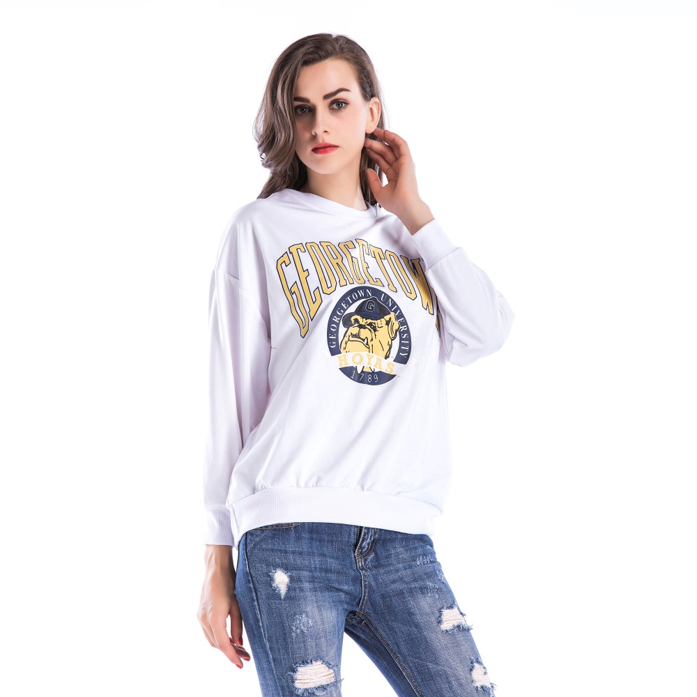 PGSD Simple Fashion Big size Women Clothes Winter O-Neck cartoon Letter printed long sleeve loose Sweatshirt female Pullovers