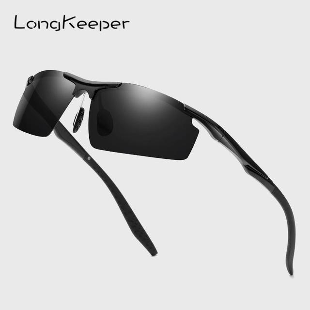 740f87e56c LongKeeper Semi montura polarizado Gafas de sol de las mujeres TR90 luz  Ultra UV400 conducción de los hombres Gafas de sol de marca clásica Gafas  hombre