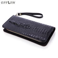 2017 Women Wallet Genuine Leather Purse Crocodile Mens Wallets For Mobile Phone Key Holder Wristlets Zipper