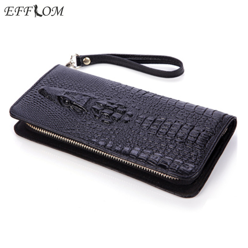 2017 Women Wallet Genuine Leather Purse Crocodile Mens Wallets for Mobile Phone Key Holder Wristlets Zipper Clutch Carteira
