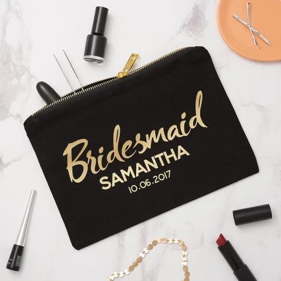 Do Bridesmaids Buy Wedding Gifts: Personalized Wedding Bridal Bridesmaid Makeup Bag, Hen Do