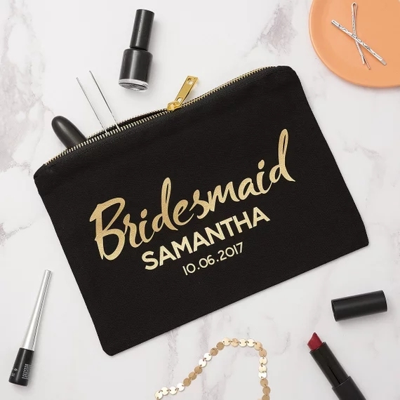Personalized Wedding Bridal Bridesmaid Makeup Bag Hen Do Gift Make Up Birthday Gifts Engagement Presents Cosmetic Bags