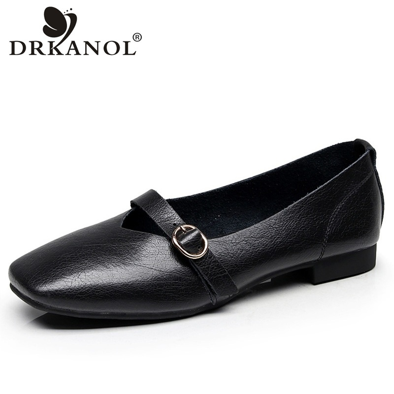 DRKANOL Shallow Big Size 35-43 Women Shoes Soft Genuine Leather Flats Loafers Slip On Casual Flat Shoes Black White Ladies Shoes new round toe slip on women loafers fashion bow patent leather women flat shoes ladies casual flats big size 34 43 women oxfords