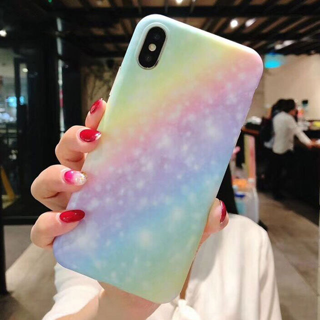 Lovely Gradient Color Rainbow Frosted Phone Cases For iPhone X 6 6S 7 8 Plus  Fashion 89ab155f1c8c