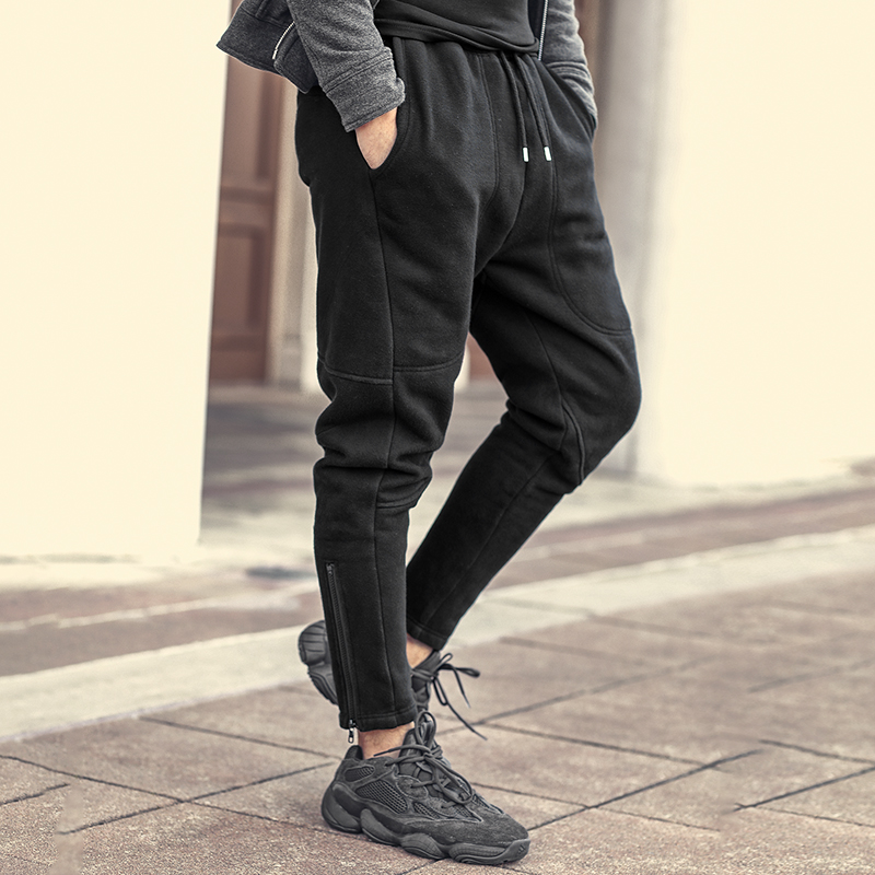 Careful Men New Style Zippers Trousers Thickening Fleece Inside Black Slim Casual Pants Men Harem Trousers Hip Hops Fashion Pants K923-2