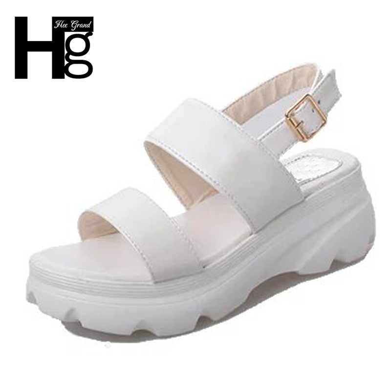 HEE GRAND Causal Women Platform Shoes Gladiator Woman Sandals Summer Buckle Strap Rubber Fashion Sandals 4 Colors XWZ4725