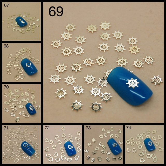 800PCS/PACK Gold Multi-Shapes Fish Anchor Crown Frame Logo Metallic Sequins Nail Art Sticker Cell Phone Decoration Tip