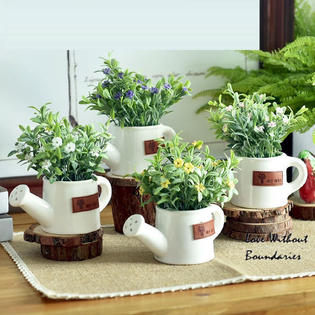 kettle mini pots simulation flower plants bonsai desktop ornaments Artificial Greenery in Pots