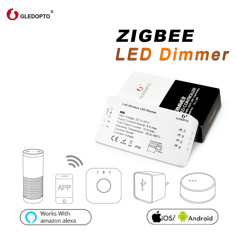 GLEDOPTO ZIGBEE Zll  Link Light Strip Dimmer Controller Smart App Control Compatible With  Zigbee3.0 Work With Amazon Echo Plus