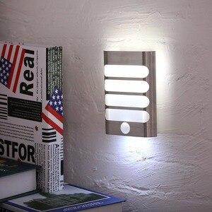 Image 1 - USB akumulator czujnik lampka nocna bezprzewodowy czujnik ruchu pir światło kinkiet lampa Auto On/Off dla korytarza ścieżka schody
