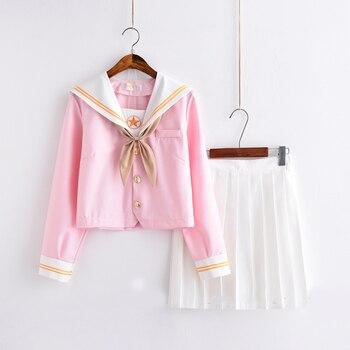 Sakura rosa claro de classe uniforme uniforme escolar Japonês saia jk uniformes terno de marinheiro vento colégio terno uniformes de estudantes do sexo feminino