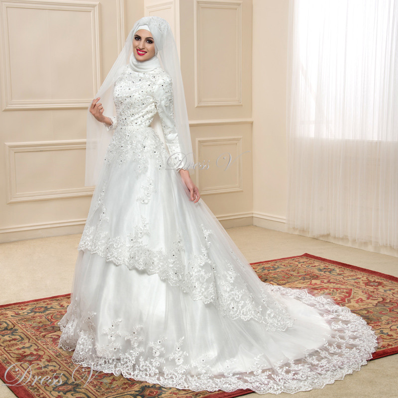 Elegant Muslim Turtleneck Wedding Dresses With Long Sleeves 2017 Hijab Lace Applique Vintage Arabic Bridal Gowns Islam Kaftan In From