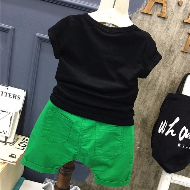 Summer Children Boys Girls Clothing Sets Kids Leaf T-Shirt Shorts 2Pcs/Sets Toddler Leisure Sport Suits Baby Cotton Tracksuits