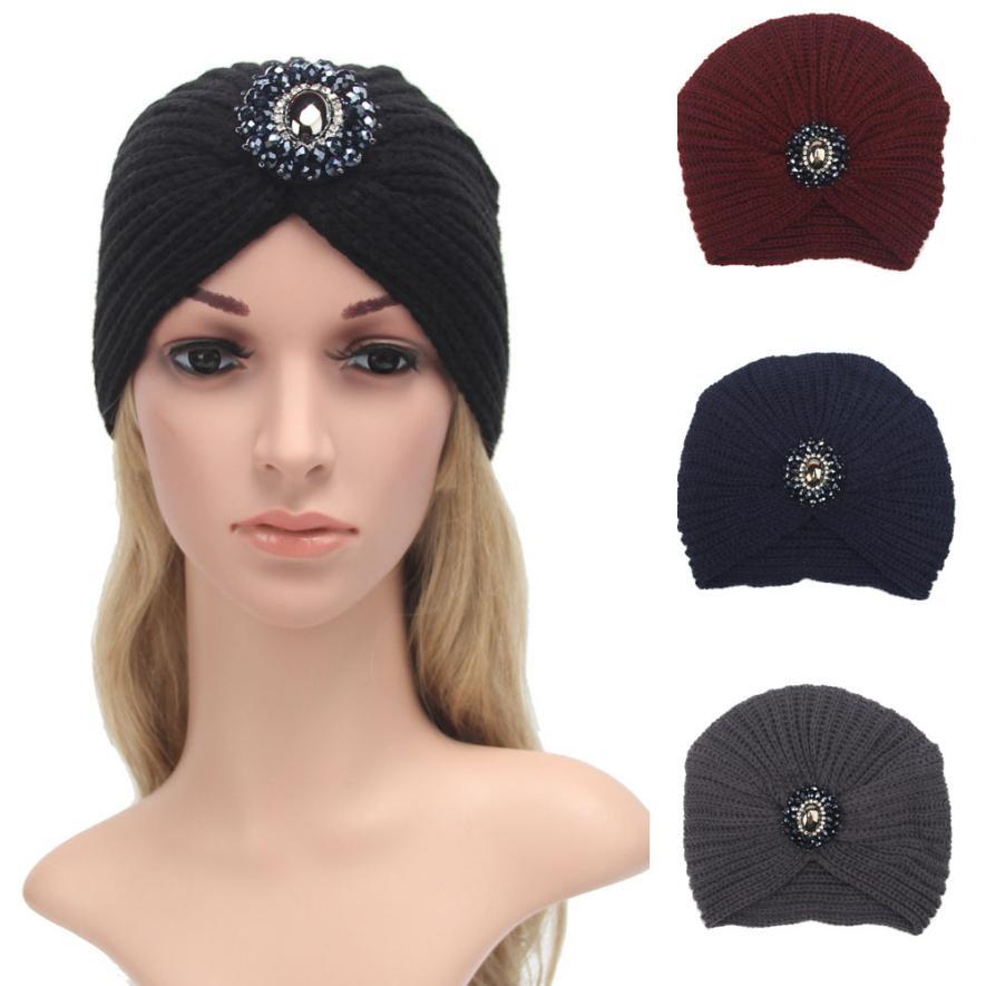 Vestido 2017 Fashion Warm Winter Knit Crochet Ski Women Hat Cap Braided Turban Stretch Headdress women Cap hot winter beanie knit crochet ski hat plicate baggy oversized slouch unisex cap