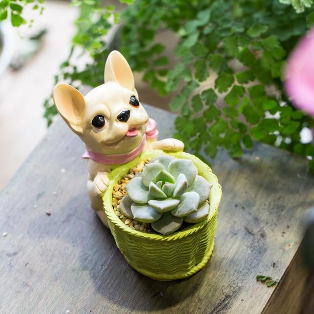 Nette Kleine Dekorative Französisch Hund Harz Kaktus Sukkulenten Blumentopf Innen Balkon Pflanzen Pflanzer Bonsai Hausgarten Topf Decor