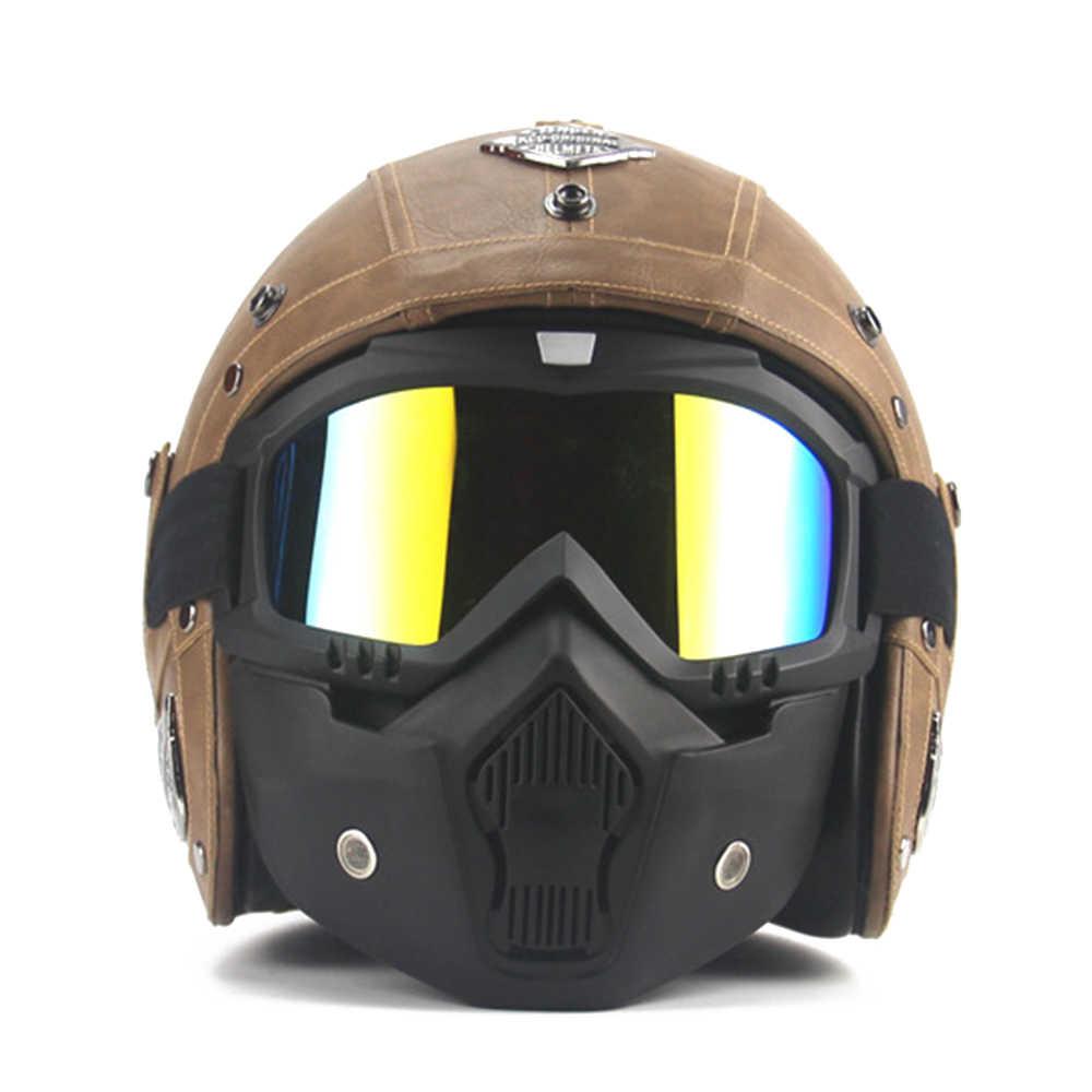 eadb9bb91a2 ... Nuevo Retro Vintage estilo alemán casco de la motocicleta 3 4 de la  cara abierta ...