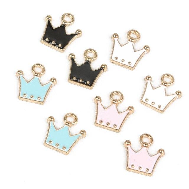 Size 10x11mm 10pcs/lot Pink/Black/Blue/White Crown charm Gold color crown pendant Metal Enamel Charm For DIY Jewelry Making