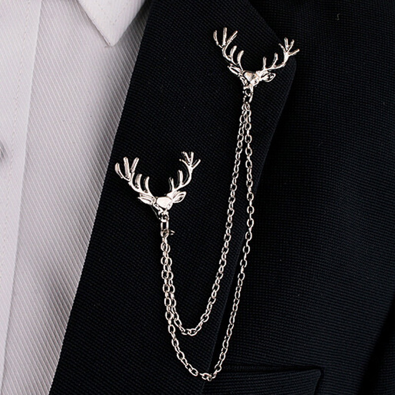 Hot Unisex Deer Head Elk Gold / Silver Tips Double Link Chains Borlas Pinos Broche Clipe Pin Broches