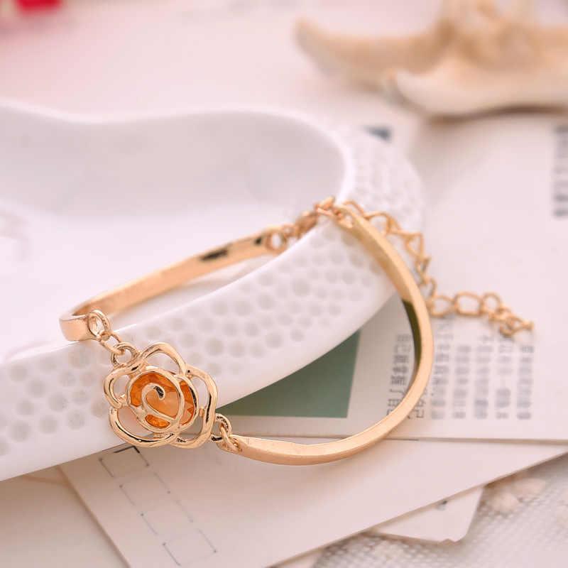Korean Fashion Individuality Rose Tea Camellia Rhinestones Jewelry Bracelets For Women Bracelets & Bangles Charm Bracelet