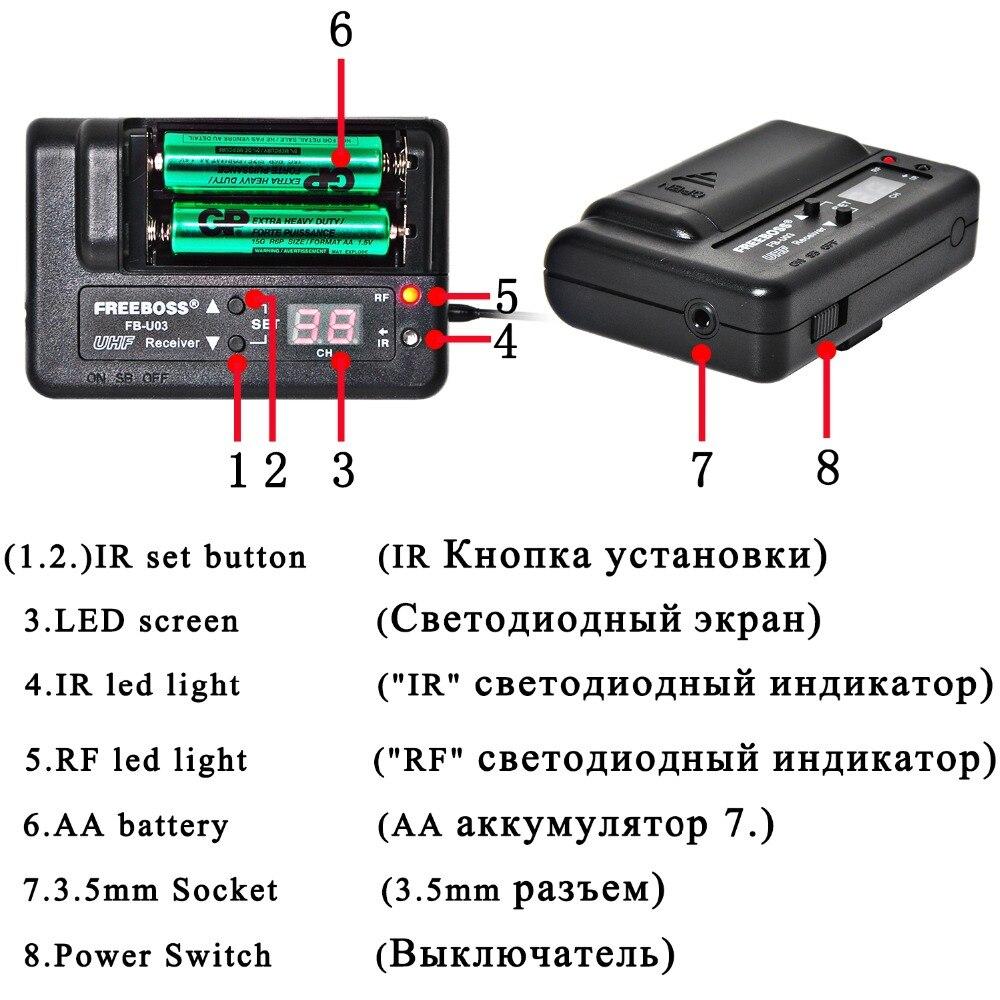 FREEBOSS FB-U03-2M 1 способ 100 канальный металлический ручной передатчик беспроводной микрофон камера Микрофон Вечеринка караоке микрофон