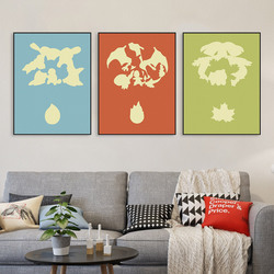Triptych Modern Pop Japanese Anime Game Poke Monster Canvas A4 Print Poster Wall Pictures Kids Baby Room Decor Painting No Frame
