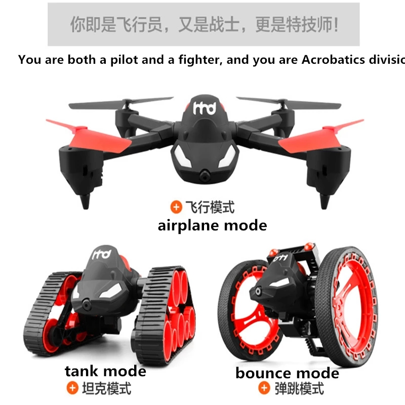 2.4G 4CH 6 Axis Drone with Camera Air Ground Racing Flying Toys RC Tank with WIFI Camera Real Time DIY Toys for Children