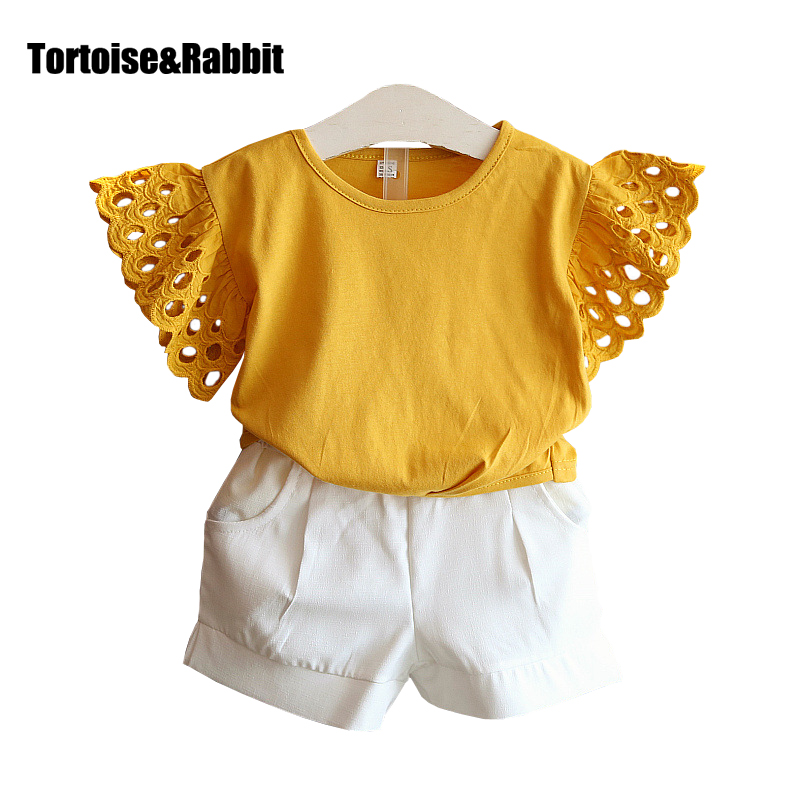 Summer Girls Clothes Sets With Petal Sleeve Kids Sportswear Hollow T-Shirts+Elastic Shorts Toddler Baby Suits Children Girl Suit girls tshirt brand hollow sleeveless o neck baby girl shorts solid elastic waist 2 pieces kids clothes girls 2792w