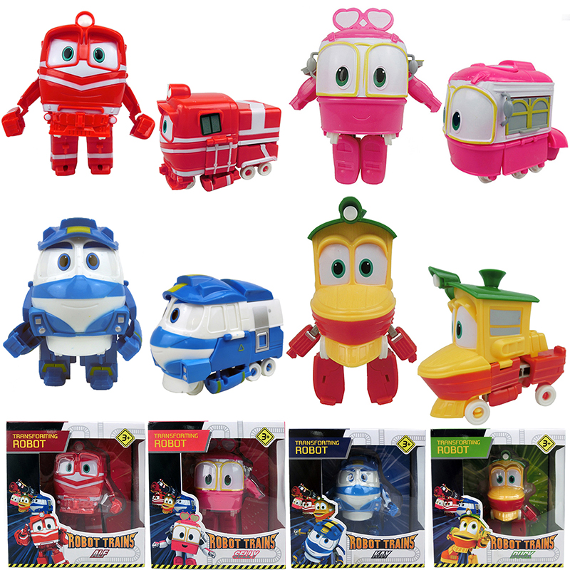 12cm Robot Trains Transformation Kay Alf Dynamic Train Family Deformation Train Car Action Figure Toys Doll for Kids Boy Gift