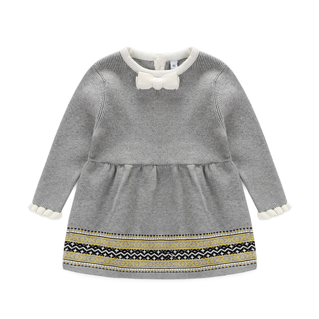 86f9442cb Toddler Girls Sweater Dress Grey Color Cute Child Baby Primer Shirt Knitted  Sweater Baby Girl Clothing