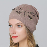 Wool Knit Hats Caps For Women Winter Outdoor Casual Skullies Beanies Rabbit Fur Thick Hat With