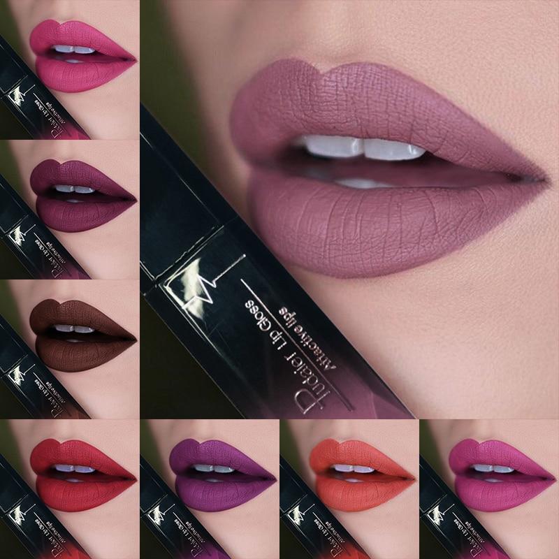 2019 Hot Waterproof Lip Gloss Matte Liquid Lipstick Matte Lipstick Lipkit Cosmetics Makeup Nude Purple Black