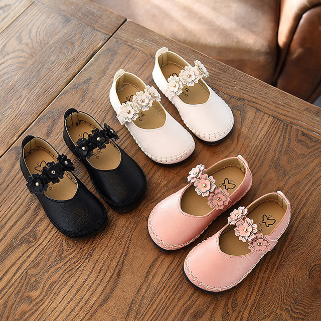 ac11bd4c0a17 Girl Leather Shoes Baby Girls Princess Shoe 2018 Spring Children Doug Shoes  Flower Baby Casual Dance Shoes