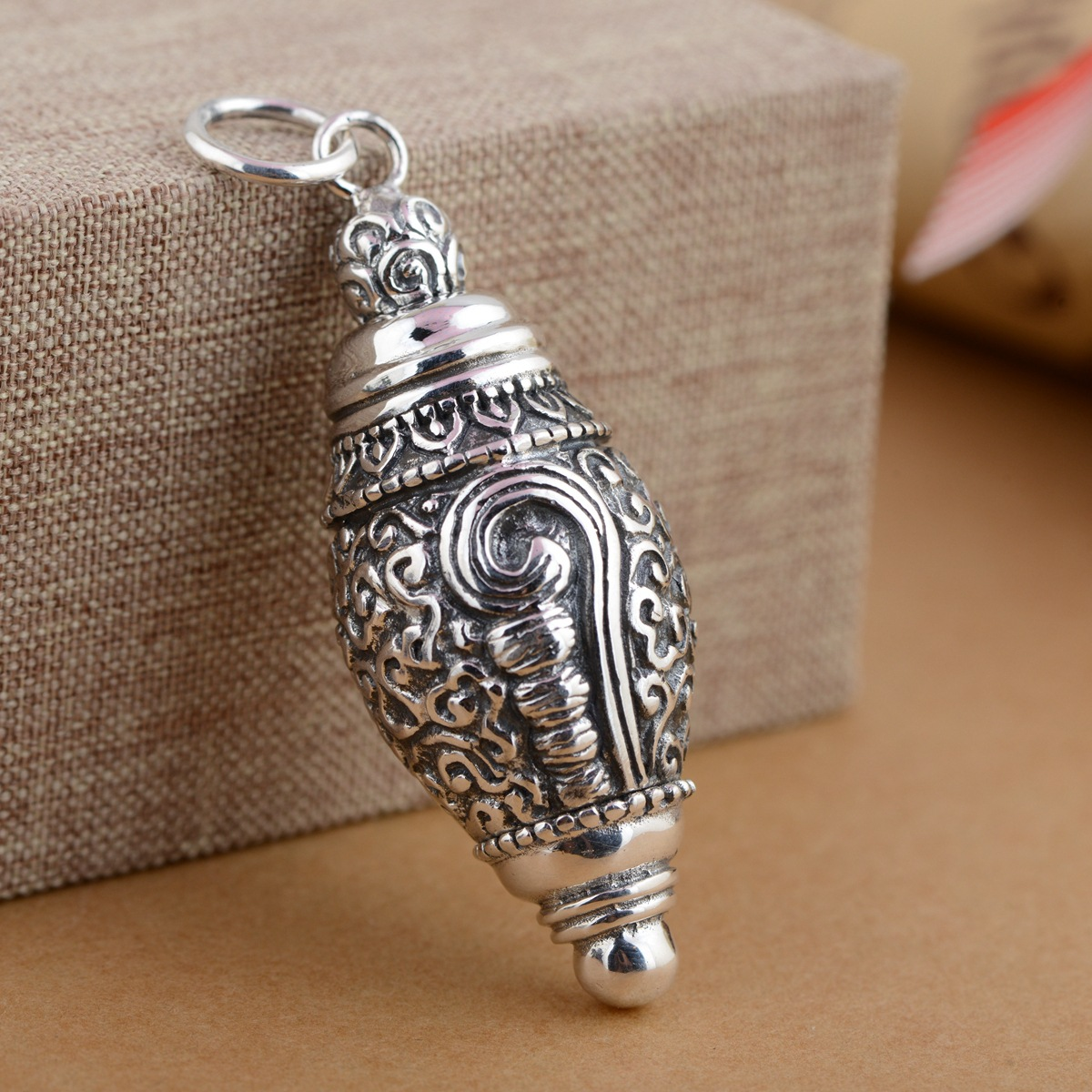 [silver] deer king gawu Box Pendant Shurangama mantra S925 sterling silver wholesale silver style text deer king jewelry crystal pendant silver inlaid silver fox s925 wholesale margin of recruit personality styles