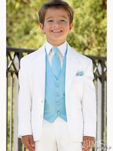 Custom white two Button blazer baby boy Tuxedos Notched Lapel blazer kids Wedding/Prom suit Children clothes jacket+vest+pant