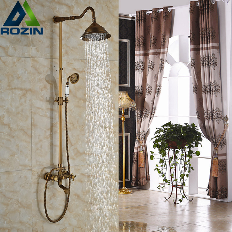 Antique Brass Two Handles Hot and Cold 8 Rain Shower Faucet Wall Mounted Swivel Tub Filler Bath Shower Mixer Taps shower faucet wall mounted antique brass bath tap swivel tub filler ceramic style lift sliding bar with soap dish mixer hj 67040