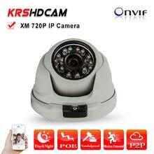 POE IP Camera 1280*720 1.0MP ONVIF H.264 24IR HD Lens room Dome Support Phone Android IOS P2P Security CCTV camera seguranca