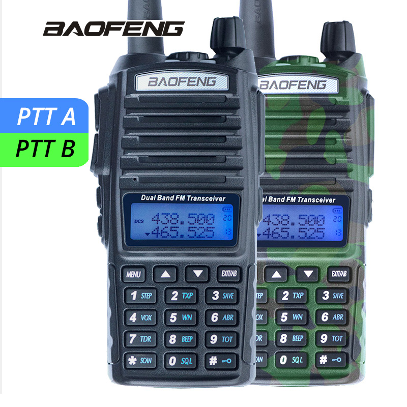 1Pcs Baofeng UV-82 Walkie Talkie UV 82 Portable Two way Radio Dual PTT Ham CB Radio Station VHF UHF UV82 Hunting Transceiver