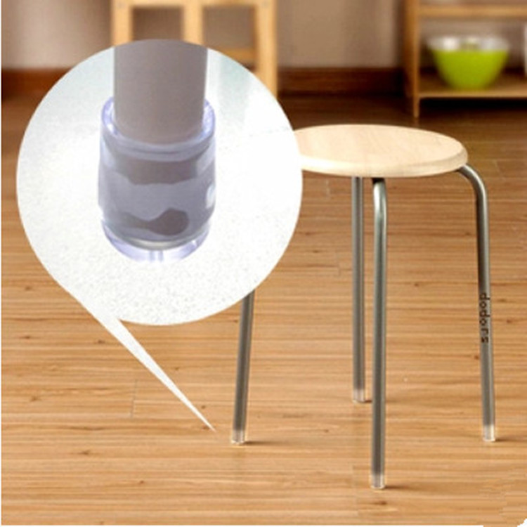 16 Pieces Chair Legs Rubber Cover Clear Silica Plastic