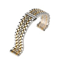 24mm Stainless Steel Watch Bands Strap Silver & Gold Band For Wrist Watch Butterfly Clasp Bracelet Fit Smart Watch Replacement