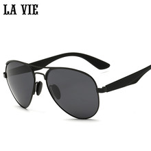 LA VIE Polarized Pilot Style Men Sunglasses Fashion Alloy Frame Design Plastic Leg Male Coating Sun Glasses LV3523