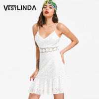VESTLINDA Broderie Anglaise Lace Slip Sun Dress A Line Hollow Out Spaghetti Strap Cami Dress Summer