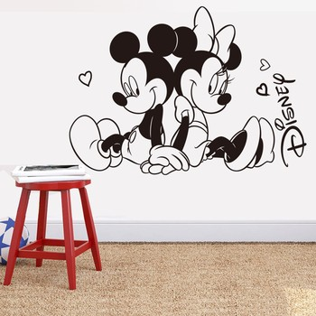 custom name diy vinyl cartoon mickey art decor children room sitting