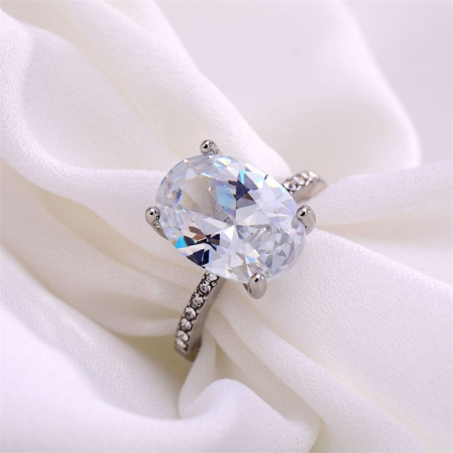 FNIO Luxury Female Crystal White Zircon Stone Ring Fashion Silver Color Wedding Jewelry Promise Engagement Rings For Women 5