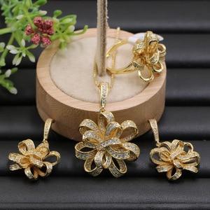 Image 3 - Lanyika תכשיטי סט מוגזמת חינני סרט פרח מיקרו מצופה שרשרת עם עגילים וטבעת אירוסין פופולרי מתנות