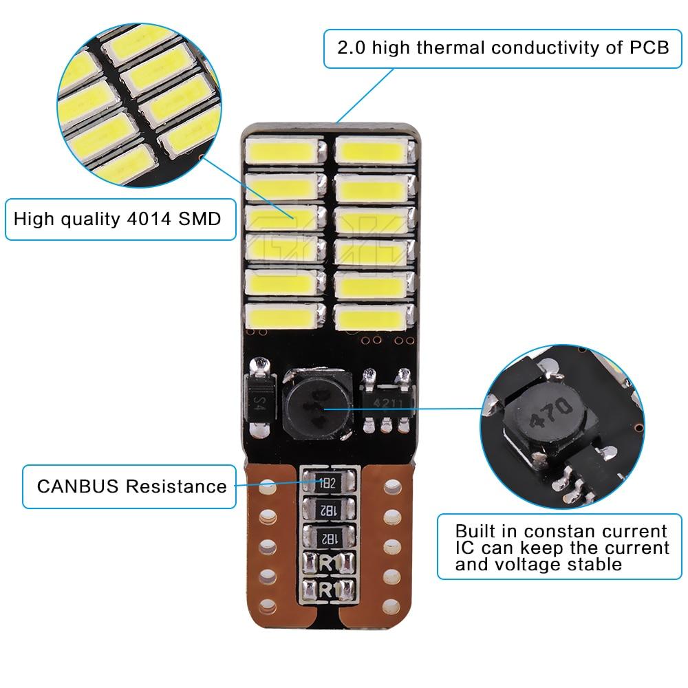 4pcs / lot Canbus Free Car Auto LED T10 24smd 4014 Lisenziya plitəsi - Avtomobil işıqları - Fotoqrafiya 3
