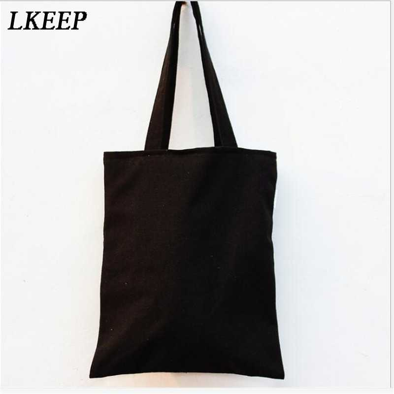 17b1a0514a9 Large Black Canvas Tote Bag Reusable Shopping Bag Foldable Folding Fabric  Cloth Cotton Eco Grocery Bags