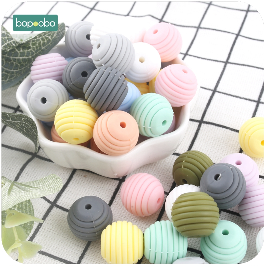 Bopoobo 10pcs Silicone Beads Baby Teething Round Spiral Beads Food Grade Beads 15mm DIY Threaded BPA Free Beads Baby Teethers