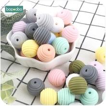 Bopoobo 10pcs Silicone Beads Baby Teething Round Spiral Food Grade 15mm DIY Threaded BPA Free Teethers