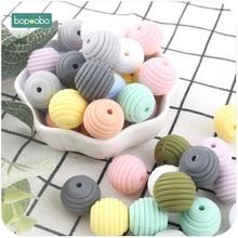Bopoobo – anneau de dentition en Silicone pour bébé, 10 pièces, perles rondes en spirale de qualité alimentaire, 15mm, sans BPA, à faire soi-même