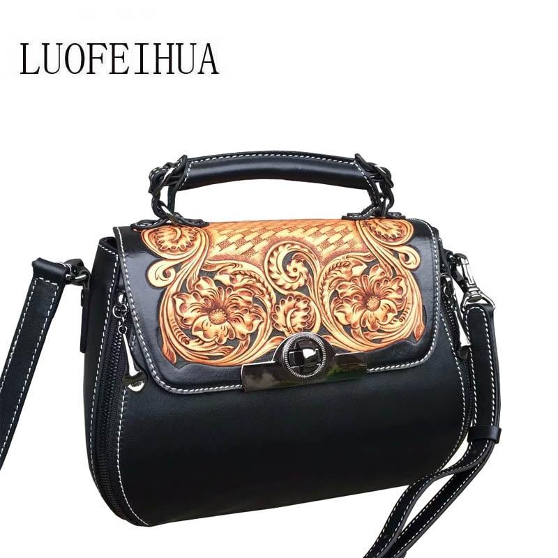 Luofeihua green Red 2019 end black Tasche Leder High Handtasche Geprägte Neue Designer leder Carving Bankett rrxZC76qw